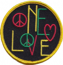 Bob Marley Rastafarian One Love Peace Embroidered Patch  (A520)